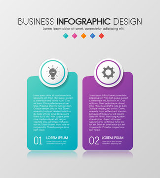 Colourful diagram infograph with 2 steps. Vector