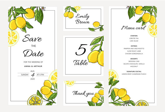 Set of Botanical Wedding lemon tree invitations with lemon and leaves.