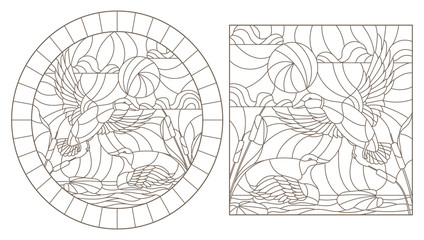 A set of contour illustrations of stained glass Windows with ducks on the background of the pond and the sky , dark contours on a white background