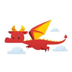 Cartoon dragon flying vector isolated illustration