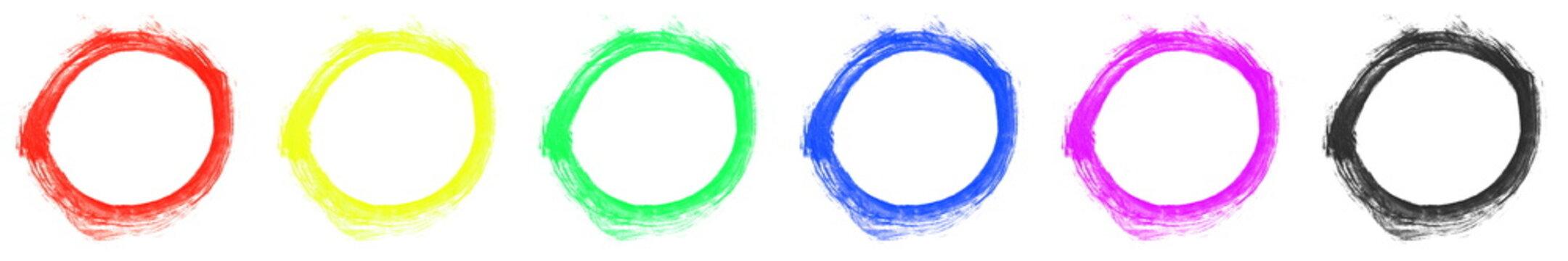 6x farbiger Pinsel Kreis gemalt mit einem Pinsel