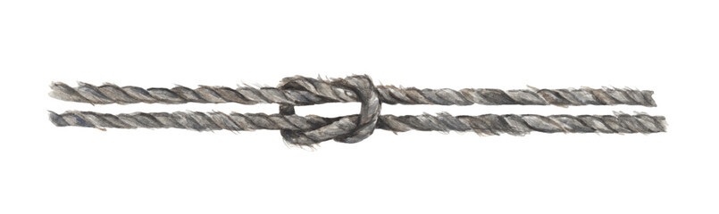 Watercolor painting of Gray rope string with knot. Isolated on white background.