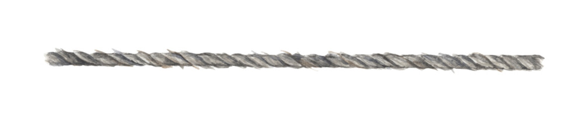 Watercolor painting of Gray rope string isolated on white background.
