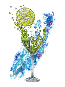 A glass of margarita cocktail and a piece of lemon with blue abstract paint splash on background, hand painted watercolor with ink drawing illustration