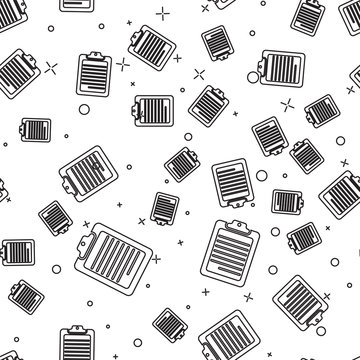 Black Clipboard with document icon isolated seamless pattern on white background. Vector Illustration