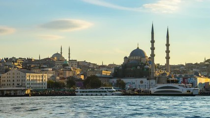 Wall Mural - Timelapse of Istanbul city skyline in Istanbul, Turkey