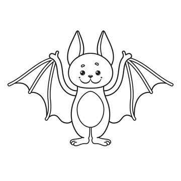 Coloring page with a bat. Vector Illustration.