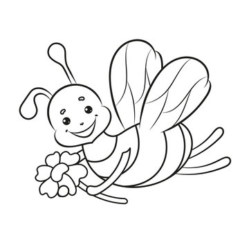 Coloring page for kids with a bee. Vector Illustration.