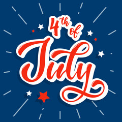 cute hand lettering cslligraphy quote 'Happy 4th of July' for posters, banners, prints, cards, etc.