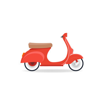 Red vintage scooter isolate on white background. Flat design vector..