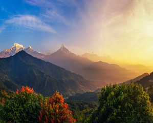 Colorful sunrise over Himalaya mountains in Nepal