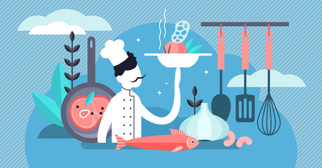 Chef vector illustration. Flat tiny professional occupation persons concept