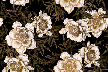 Foto auf Gartenposter Botanisch Seamless pattern with peonies and leaves. Black, white and gold foil print.
