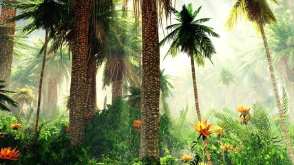Blooming jungle in the fog, flowers among palm trees, palm trees in the fog Wall mural