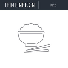 Symbol of Rice. Thin line Icon of Food. Stroke Pictogram Graphic for Web Design. Quality Outline Vector Symbol Concept. Premium Mono Linear Beautiful Plain Laconic Logo