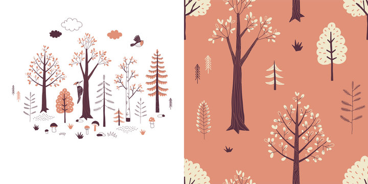 Forest wildlife childish fashion textile graphics set with t-shirt print and accompanied tileable background in decorative Scandinavian style. Woody landscape scene illustration. Woodland plant and