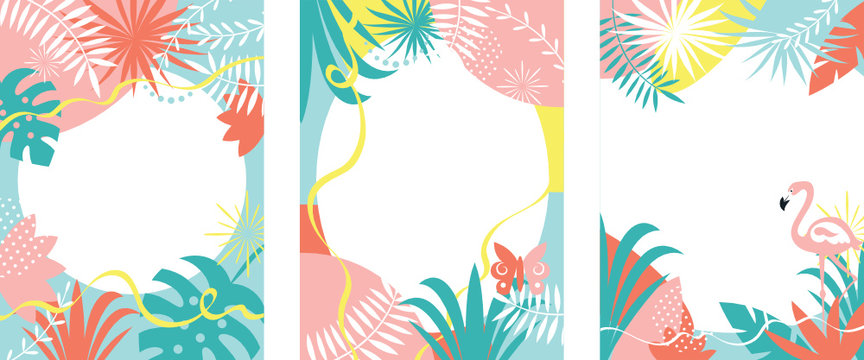 set of abstract background designs with tropical plants, palm leaves, pastel colors
