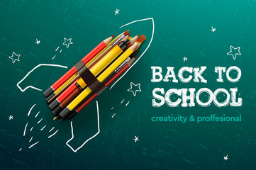 Back to school creative banner. Rocket ship launch with pencils - sketch on the blackboard, vector illustration.