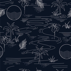 Minimal seamless pattern in vector of island summer mood and tone with line ,Design for fashion fabric web wallpaper and all prints