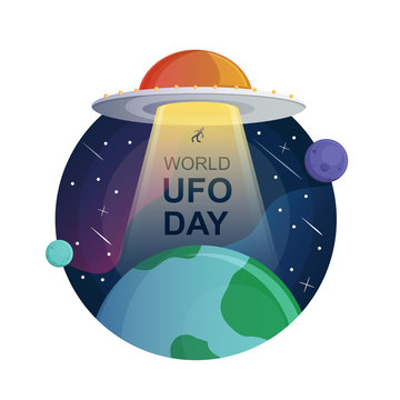 World UFO day in black and white style vector  background