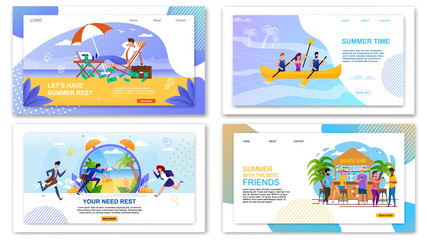 Flat Landing Page Set with Summer Vacation Offers