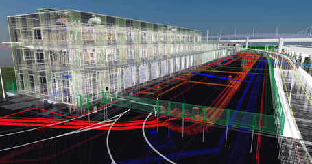 The BIM model of the of civil infrastructure object  of wireframe view
