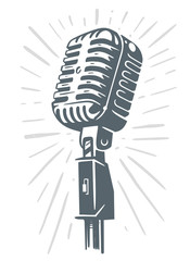 Retro Microphone Sketch on white background