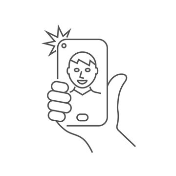 Hand is holding smartphone and the guy is taking a selfie. Editable Stroke. EPS 10.