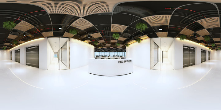 reception in a modern panoramic office,Panorama of reception in office interior,Full 360 spherical panorama view of reception.reception interior with white space (3D Rendering)