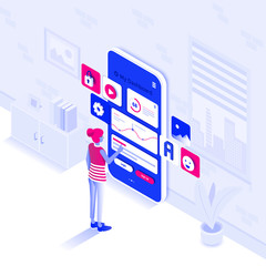 Wall Mural - Flat color Modern Isometric Illustration design - Manage your dashoard