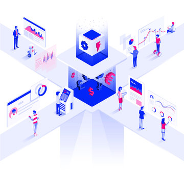 Flat color Modern Isometric Illustration design - Trading Platform
