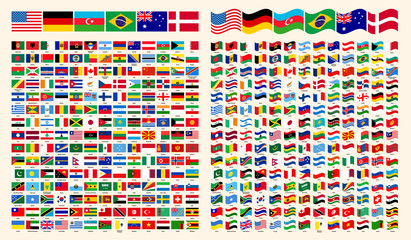 All Flags Of The World. All Around The World Flags with Names Collection, Set, Vector Illustration Simple Modern Flags. Country Symbols Shape. Straight and Wavy World Flags Vector Set.