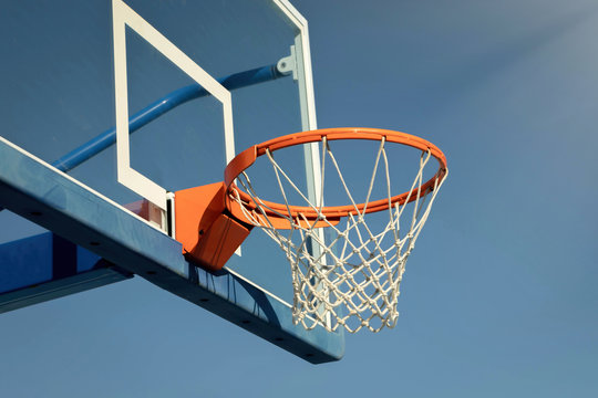 Basketball backboard on the school basketball
