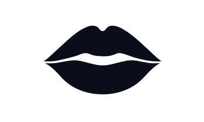 lips kiss vector design black and white icon illustration