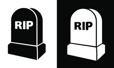 tombstone icon flat graphic black and white