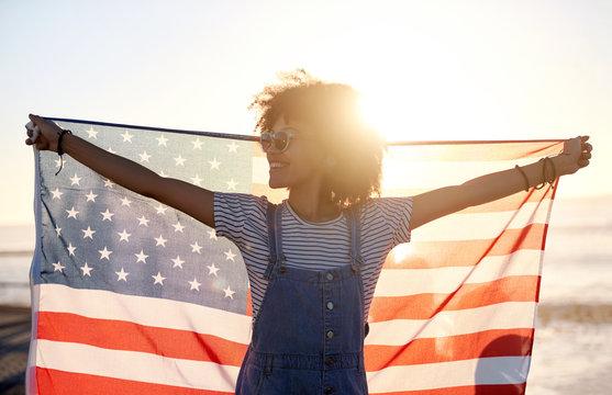woman celebrating 4th of july