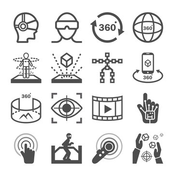 Virtual Reality (VR) gaming Icons. 360 Degree View Image and Video Related Vector icon set