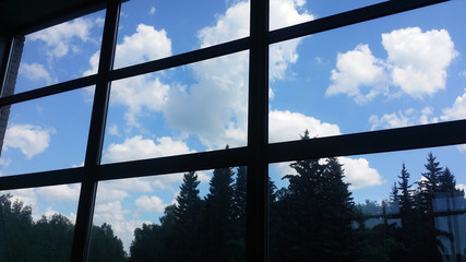 View from inside  of an office building through a large window  at the sky with  clouds and at a forest.