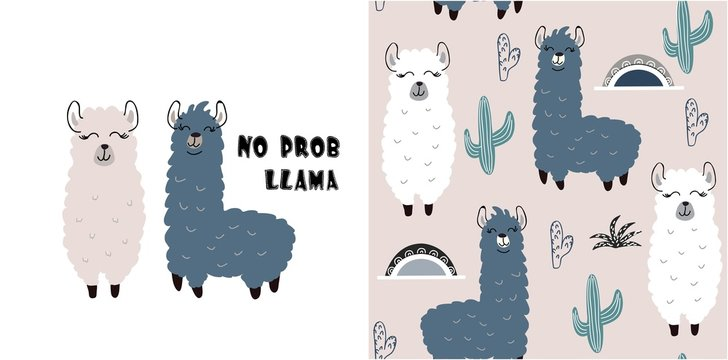 set of cute llama print and seamless pattern with llamas. vector
