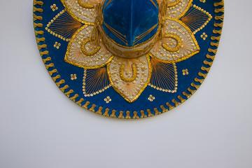 Blue Mexican velvet sombrero, isolated on white