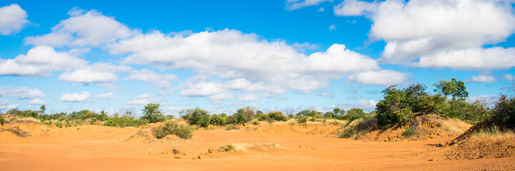 Panoramic view of the sertao landscape: an abandonded quarry in Oeiras, Piaui (Northeast Brazil)
