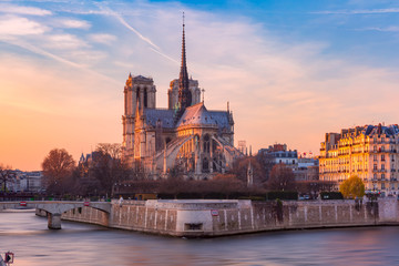 Fototapete - Cathedral of Notre Dame de Paris at sunset, France
