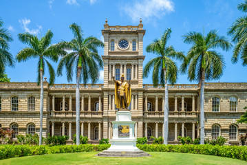 Kamehameha statues and State Supreme Court, hawaii Fototapete