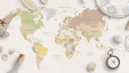 Fototapeta Sea, travel things on world map conposition. Copy space in the middle. Top view, flat lay. obraz