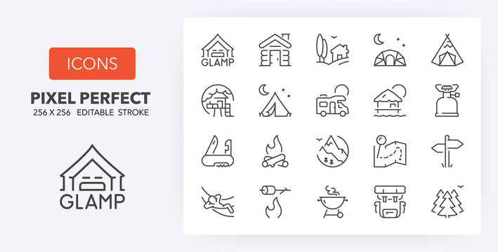 glamping line icons 256 x 256