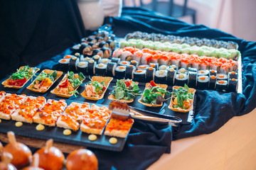 Breakfast Buffet Concept, Breakfast Time in Luxury Hotel, Brunch with Family in Restaurant, Sushi Rolls - Image