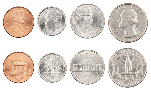 Four most commonly used American Coins isolated on white background
