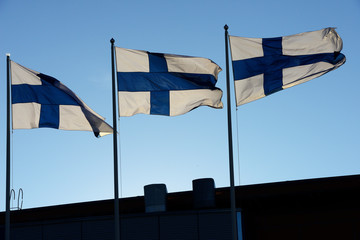 waving flags of Finland