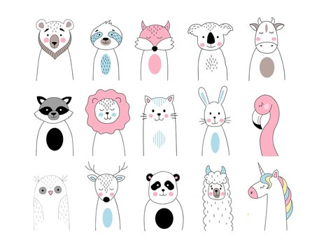 Cute animals set in hand drawn style. Bear, koala, fox, sloth, cow, lion, cat, rabbit, flamingo, owl, deer, panda, raccoon, llama, unicorn in linear style. Line art vector animals illustration