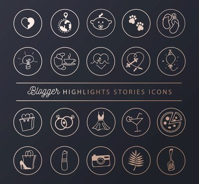 Social networks icons set for stories highlights in chic style. Blogger lifestyle icon collection. Vector illustration